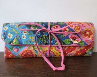 Sweet '60s Vintage Cotton Pink Velveteen Roll-Up Toiletry Makeup Case, Travel Case