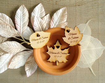 225 Wood Leaf Wedding Favors Personalized Wood Leaves