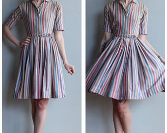 1950s Dress // Carol Craig Striped Dress // vintage 50s dress