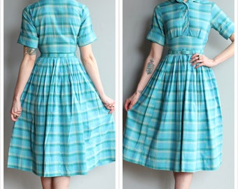 1950s Dress // Calm Waters Plaid Dress // vintage 50s dress