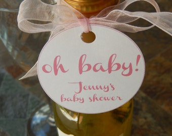 "30 Mini Wine or Champagne Bottle Custom Baby Shower 2"" Favor Tags - oh baby! - Party Favors - Printed Personalized Tags and Stickers"