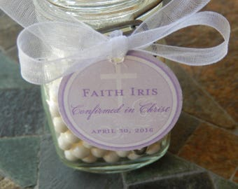 "30 Confirmation Custom Thank You 1.5"" Favor Tags - For Cake Pops - Cookie Favors - Mason Jar Gift Favors - Cross Tags - Confirmed in Christ"