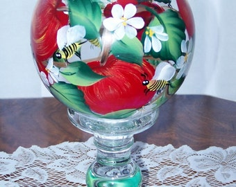 Ivy bowl vase red apples and bumble bees