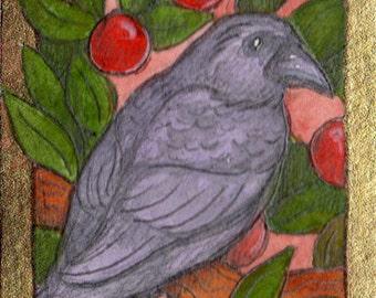 Medieval Raven....Original ACEO