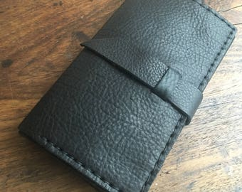 Black leather wallet, Checkbook holder, Large womens wallets, Womens credit card holder, Trifold leather wallet, American made leather goods