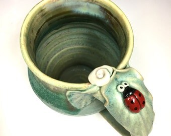 Ladybug and Flower Pottery Mug