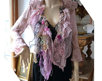 RESERVED Beautiful Unique Art To Wear Silk Chiffon Transparent  Jacket DUSTY PINK Fairy Boho Tattered Flowers Forest Gipsy