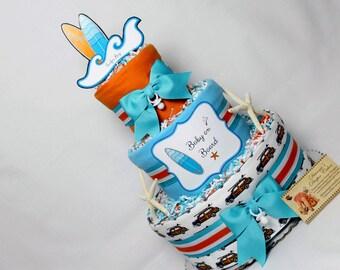 Baby Diaper Cake Surfing Surfer Boy Shower Centerpiece Gift Baby on Board
