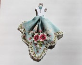 Vintage Blue Hanky Dress with pink and white flowers and an embossed white bodice