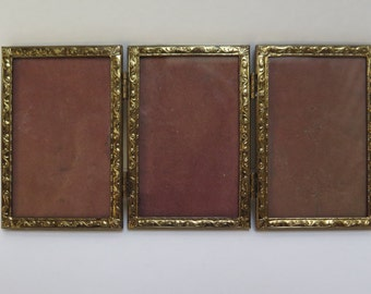 Lightweight Tri-Folding Triple 2.5 x 3.5  Brass Picture Frame Hinged Folding Mid Century Picture Frame