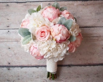 shabby chic wedding bouquet peony rose and hydrangea ivory and blush wedding bouquet with lace - Garden Rose And Hydrangea Bouquet