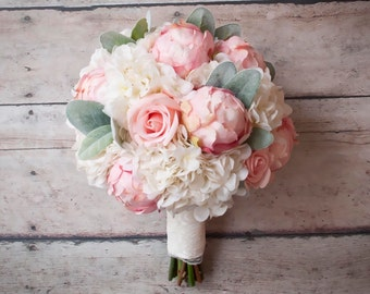shabby chic wedding bouquet peony rose and hydrangea ivory and blush wedding bouquet with lace