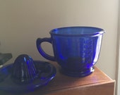Vintage Cobalt Glass Juicer with Measuring Cup