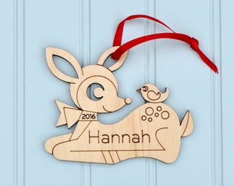 Deer Ornament: Woodland Animal Baby's First Christmas Wood Ornament with Personalized Name, Cute Kawaii
