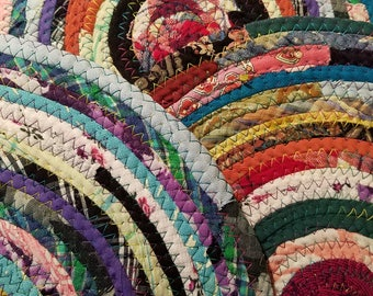 Colorful Round Rag Rug, Made to Order Vintage Inspired, Coiled Fabric Braided Rug Style, Gypsy Hippie Boho Bohemian Color, Upcycled Handmade