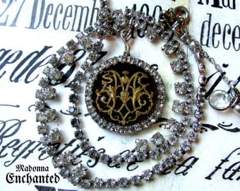 Madonna Enchanted necklace sacred heart of Mary rhinestone choker jewelry antique vintage one of a kind Catholic religious assemblage