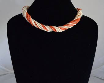 Classy Vintage Coral And Pearl Bead 13 Strand Versatile Necklace