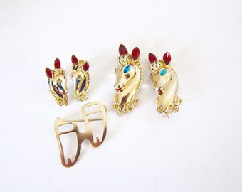 Vintage Coro Duette Daily Double Coro Horses Vintage Brooch Set Earrings Brooch Set Fur Clips Vintage Jewelry Gift For Women Signed Coro B6