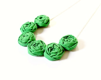 Green statement necklace, fabric flower necklace, rosette necklace