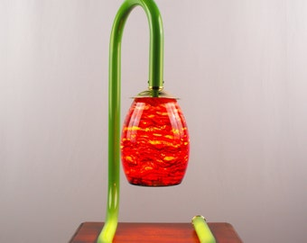 Table Lamp, Lime Green, Gooseneck Table Lamp, Browns and Reds Blown Glass, Artisan Lamps, J Garloff Design, Decorative Lamps, Lighting