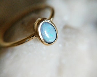 Opal and Gold Vermeil Ring - opal and gold ring - opal ring - dainty opal ring - birthstone ring - gemstone ring - october birthstone - boho