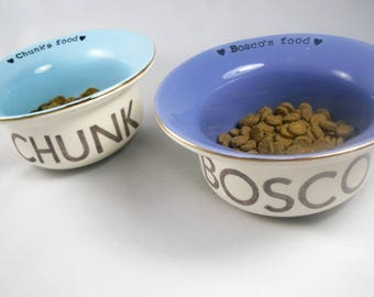 set of 2 CUSTOM DOG BOWLS handmade, heavy duty, ceramic, earthenware dog dish, 14 color options, gold or silver rim, personalized dog name