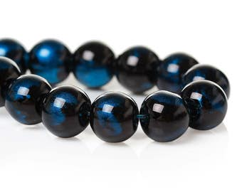 "105 pcs Black and Blue Pearl Swirl Glass Round Loose Beads - 8mm - Hole Size: 1.5mm - 32"" Strand"