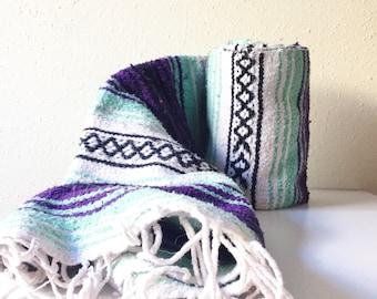 Vintage Mexican Blanket, Serape, Purple, White, Teal, Black, Boho, Home Decor, Bedding, Throw Blanket, Yoga Mat