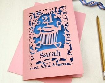 Personalised Papercut Cupcake Birthday Card, Laser Cut Cake Card With Name and Age, Birthday Cake Card, sku_cupcake_bday