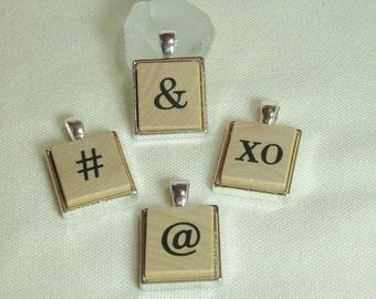 Scrabble Tile Necklace, Unique Scrabble Tile Pendants, Ampersand Pendant, XO Pendant, Hashtag Pendant, Instagram Inspired Pendants