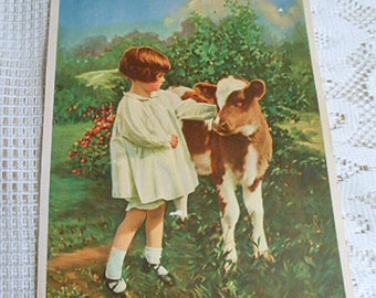 2 PEACEFUL COUNTRY SCENES Litho Prints in 1, Sweet Girl & Calf, Thatched River Cottage and Rose Garden, Vintage 1920 Salesman Sample 8 x 10