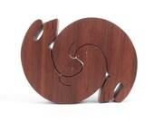 Wood Otter Decoration, Wooden Otter Figurine,  Decorative Otter, Interlaced Otters, Animal Decoration, Walnut