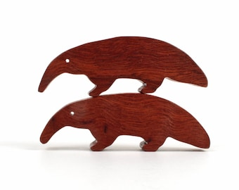 Wooden Anteater Pair Wood Animal Toys Waldorf  Wood Toys Miniature Noah's Ark  Animals Zoo Children's Toy Anteater Figurine