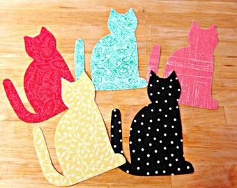 Cat Applique, Fusible Applique, Iron on Applique, Iron on Patch, Fabric Patch, Cat Patch, Fabric Embellishment, Animal Applique