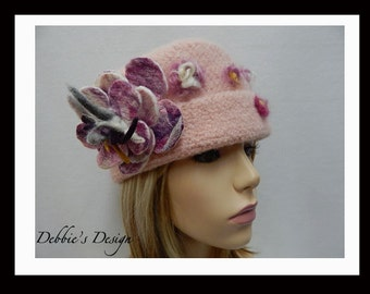 Women's Felted Cloche Hat-195 Women's Felted Cloche Hat, Women's Handmade Cloche Hat, Womens Handmade Hats