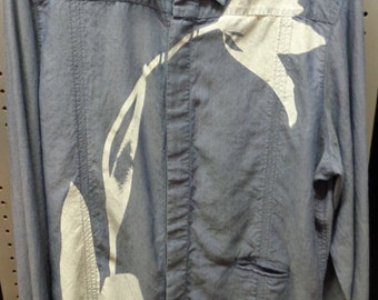 VINTAGE 1980's Men's Denim Chambray Shirt  by GF Ferre (available)