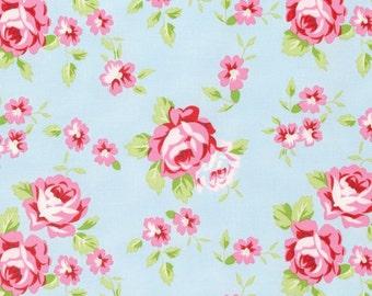 Rambling Rose - Blue Happy Rose by Tanya Whelan for Freespirit Fabrics