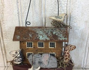Vintage Judi Thomas Folk Art Handmade Hanging Noahs Ark