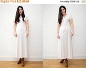 On Sale Vintage Cream Deep V Plunging Art Deco grunge Wedding Maxi Dress