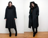 Vintage Real Fox Fur Swing Cape Coat Hood Princess Maxi Coat RARE