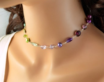 Sterling Silver Choker Necklace, Jewel Tones, Blue Green Purple Red Gemstones, Freshwater Pearl Jewelry, Free Shipping