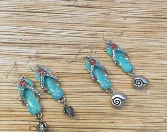 Enameled Flip Flop Earrings