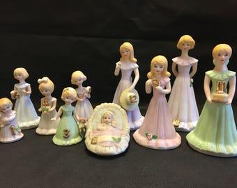 Vintage Set of 10 Growing Up Birthday Girls Porcelain Enesco  ALL 10
