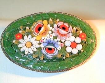 Vintage Green Mosaic Brooch. Italy