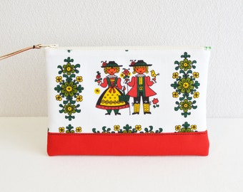 Zipper pouch|vintage|retro scandi|white red [322]  - cosmetic pouch, pen case, zip closure