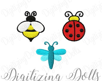 Bug Mini Design Set - Set of 3 BUGS Solid Fill Machine Embroidery Design Files - Ladybug - Bumble Bee - Dragonfly 1x1 INSTANT DOWNLOAD