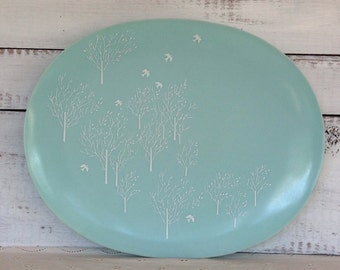 Vintage Midcentury Lucent Raymond Loewy Melmac Blue Morning Song Serving Platter