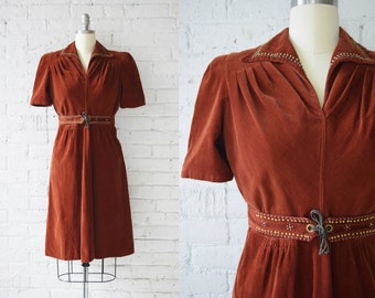 "1940s Vintage Day Dress | Corduroy Dress with Metal Stud Accents | Size M | Up to 30"" Waist"