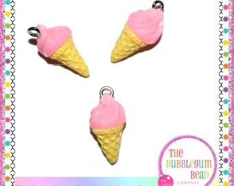21mm PINK ICE CREAM Charms, Qty 2 Bracelet Charm, Sweets Charm, Whimsical Charm, Candy Charm, Jewelry Charm, Kawaii, The Bubblegum Bead Co..