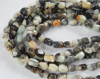 Black Amazonite faceted nugget gemstone beads ( 10-15x9-10mm), FULL STRAND (16 inches)